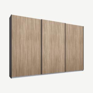 Malix kledingkast met 3 schuifdeuren, 270 cm grafietgrijs frame, eiken deuren, standaard binnenkant