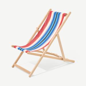 Strandstoel, natuurlijk beukenhout en gestreept doek