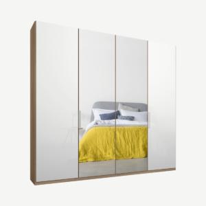 Caren vierdeurs kledingkast met handvatten, 200 cm, eiken frame, wit glas en spiegeldeuren, klassiek interieur