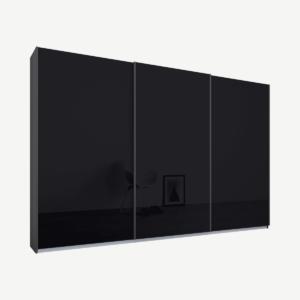 Malix kledingkast met 3 schuifdeuren, 270 cm grafietgrijs frame, basaltgrijs glazen deuren, standaard binnenkant
