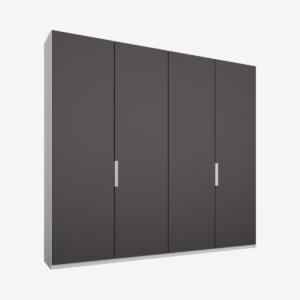 Caren Malix kledingkast met 4 deuren, 200 cm, wit frame, matte grafietgrijze deuren, standaard