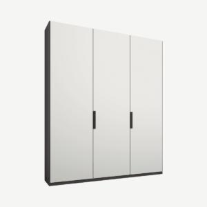 Caren driedeurs kledingkast met handvatten, 150 cm, grafietgrijs frame, matwitte deuren, premium interieur