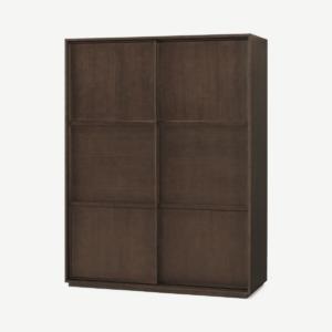 Langdon 150cm kledingkast met schuifdeuren, donkergebeitst essenhout