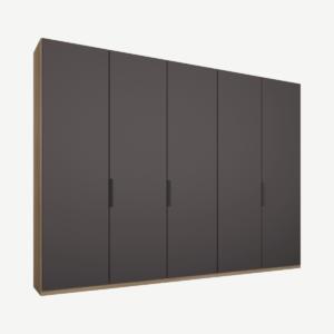Caren Malix kledingkast met 5 deuren, 250 cm, eiken frame, Matte Graphite Grey Doors, standaard