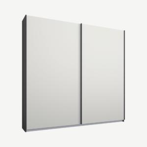 Malix tweedeurs kledingkast met schuifdeuren, 181 cm, grafietgrijs frame, matwitte deuren, standaard interieur
