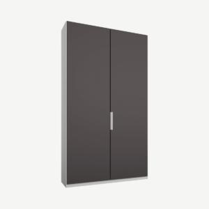 Caren tweedeurs kledingkast met handvatten, 100 cm, wit frame, mat grafietgrijze deuren, standaard interieur
