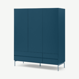 Donica kledingkast, driedeurs, saffierblauw