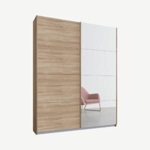 Malix tweedeurs kledingkast met schuifdeuren, 135 cm, eiken frame, eiken en spiegeldeuren, klassiek interieur