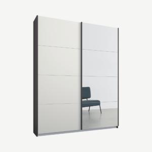Malix tweedeurs kledingkast met schuifdeuren, 135 cm, grafietgrijs frame, matwit en spiegeldeuren, premium interieur