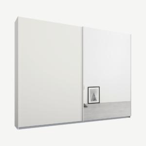 Malix kledingkast met 2 schuifdeuren, 225 cm, wit frame, mat wit en spiegeldeuren, standaard binnenkant