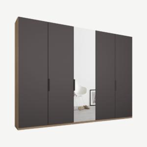 Caren vijfdeurs kledingkast met handvatten, 250 cm, eiken frame, mat grafietgrijs en spiegeldeuren, premium interieur