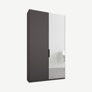 Caren tweedeurs kledingkast met handvatten, 100 cm, grafietgrijs frame, mat grafietgrijs en spiegeldeuren, standaard interieur