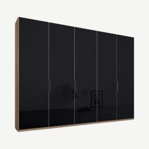 Caren vijfdeurs kledingkast met handvatten, 250 cm, eiken frame, basaltgrijze glazen deuren, premium interieur