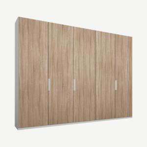 Caren Malix kledingkast met 5 deuren, 250 cm, wit frame, eiken deuren, standaard