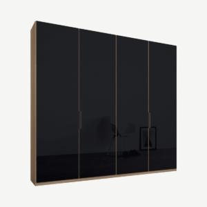 Caren Malix kledingkast met 4 deuren, 200 cm, eiken frame, basaltgrijs glazen deuren, standaard