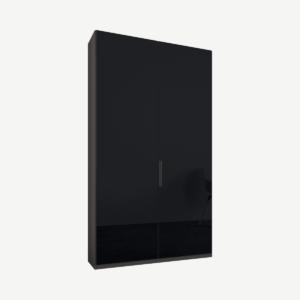Caren tweedeurs kledingkast met handvatten, 100 cm, grafietgrijs frame, basaltgrijze glazen deuren, standaard interieur