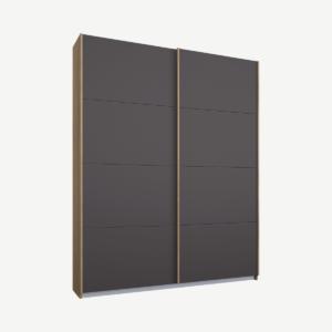 Malix tweedeurs kledingkast met schuifdeuren, 135 cm, eiken frame, mat grafietgrijze deuren, standaard interieur
