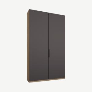 Caren tweedeurs kledingkast met handvatten, 100 cm, eiken frame, mat grafietgrijze deuren, klassiek interieur