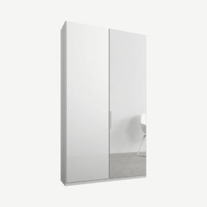 Caren tweedeurs kledingkast met handvatten, 100 cm, wit frame, wit glas en spiegeldeuren, premium interieur
