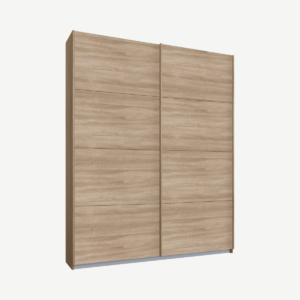 Malix tweedeurs kledingkast met schuifdeuren, 135 cm, eiken frame, eiken deuren, klassiek interieur