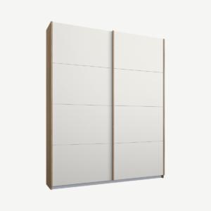 Malix tweedeurs kledingkast met schuifdeuren, 135 cm, eiken frame, matwitte deuren, klassiek interieur