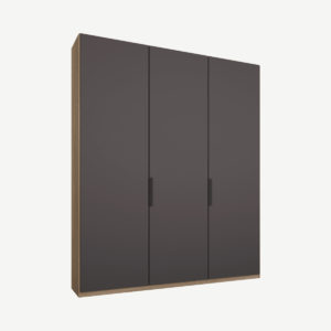 Caren driedeurs kledingkast met handvatten, 150 cm, eiken frame, mat grafietgrijze deuren, premium interieur