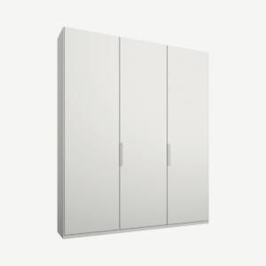 Caren driedeurs kledingkast met handvatten, 150 cm, wit frame, matwitte deuren, premium interieur