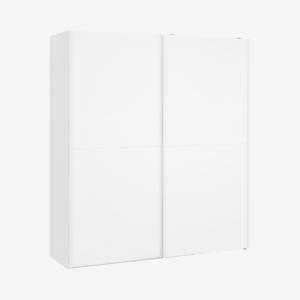 Elso garderobekast met schuifdeuren, 180cm, wit frame en witeffect deuren