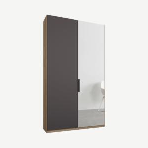 Caren tweedeurs kledingkast met handvatten, 100 cm, eiken frame, mat grafietgrijs en spiegeldeuren, standaard interieur