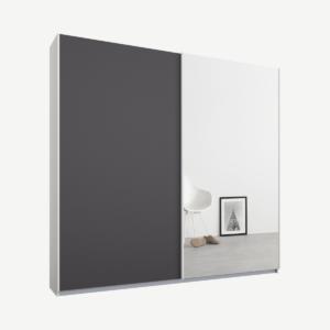 Malix tweedeurs kledingkast met schuifdeuren, 181 cm, wit frame, mat grafietgrijs en spiegeldeuren, klassiek interieur