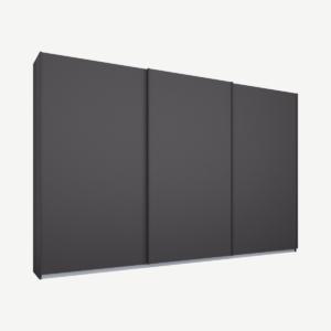 Malix kledingkast met 3 schuifdeuren, 270 cm grafietgrijs frame, Matte Graphite Grey Doors, standaard binnenkant