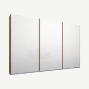 Malix kledingkast met 3 schuifdeuren, 270 cm eiken frame, witte, glazen deuren, standaard binnenkant