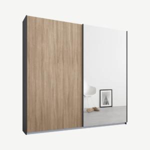 Malix tweedeurs kledingkast met schuifdeuren, 181 cm, grafietgrijs frame, eiken en spiegeldeuren, premium interieur