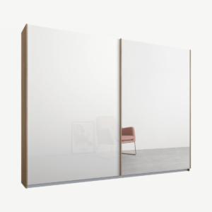 Malix kledingkast met 2 schuifdeuren, 225 cm, eiken frame, wit glas en spiegeldeuren, standaard binnenkant