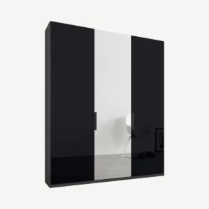 Caren driedeurs kledingkast met handvatten, 150 cm, grafietgrijs frame, basaltgrijs glas en spiegeldeuren, klassiek interieur