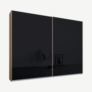 Malix kledingkast met 2 schuifdeuren, 225 cm, eiken frame, basaltgrijs glazen deuren, standaard binnenkant