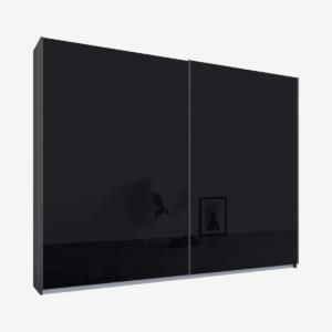 Malix tweedeurs kledingkast met schuifdeuren, 225 cm, grafietgrijs frame, basaltgrijze glazen deuren, klassiek interieur