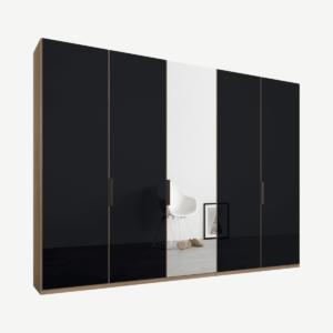 Caren Malix kledingkast met 5 deuren, 250 cm, eiken frame, basaltgrijs glas en spiegels, standaard