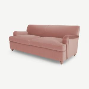 Orson 3-zitsbedbank, vintage roze fluweel