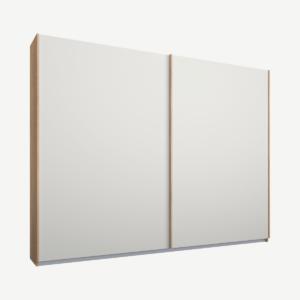 Malix kledingkast met 2 schuifdeuren, 225 cm, eiken frame, matte, witte deuren, standaard binnenkant
