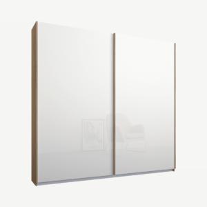 Malix tweedeurs kledingkast met schuifdeuren, 181 cm, eiken frame, witte glazen deuren, standaard interieur