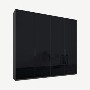 Caren Malix kledingkast met 4 deuren, 200 cm, grafietgrijs frame, basaltgrijs glazen deuren, standaard