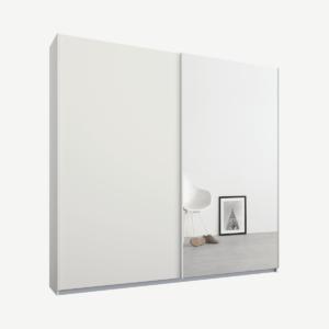 Malix tweedeurs kledingkast met schuifdeuren, 181 cm, wit frame, matwit en spiegeldeuren, premium interieur