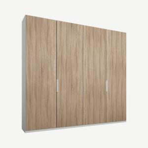 Caren vierdeurs kledingkast met handvatten, 200 cm, wit frame, eiken deuren, premium interieur