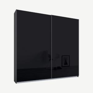 Malix tweedeurs kledingkast met schuifdeuren, 181 cm, grafietgrijs frame, basaltgrijze glazen deuren, standaard interieur