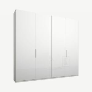 Caren vierdeurs kledingkast met handvatten, 200 cm, wit frame, witte glazen deuren, klassiek interieur