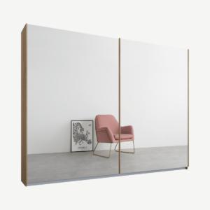 Malix tweedeurs kledingkast met schuifdeuren, 225 cm, eiken frame, spiegeldeuren, premium interieur