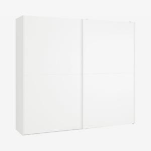 Elso garderobekast met schuifdeuren, 240cm, wit frame en witeffect deuren