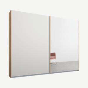 Malix kledingkast met 2 schuifdeuren, 225 cm, eiken frame, mat wit en spiegeldeuren, standaard binnenkant