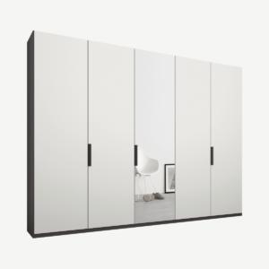 Caren Malix kledingkast met 5 deuren, 250 cm, grafietgrijs frame, mat wit en spiegeldeuren, standaard